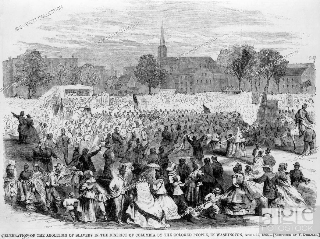 Stock Photo: On April 19, 1866, African Americans staged a huge celebration of the fourth anniversary of the District of Columbia's Emancipation Act.