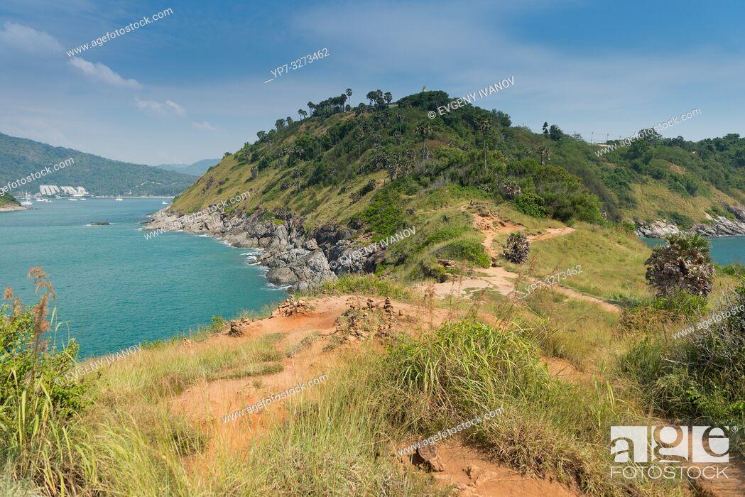 Stock Photo: Natural hiking trail on Promthep cape, Phuket, Thailand.