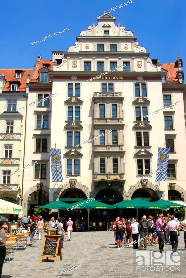 Stock Photo: Orlando House on Platzl square, restaurant, in the city centre, Munich, Upper Bavaria, Germany, Europe.