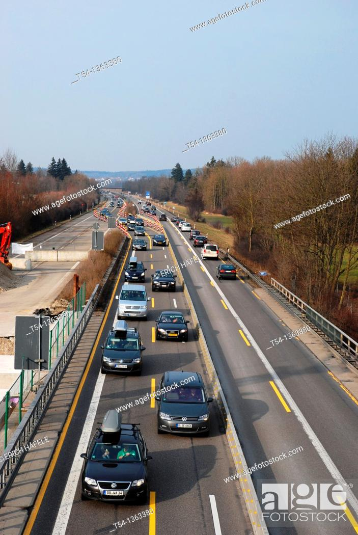 Stock Photo: Jam at highway construction site.