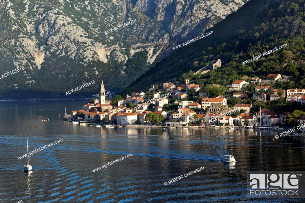 Stock Photo: Coastal town of Perast on the banks of the Bay of Kotor in Montenegro. The town lies at the base of St. Elijah Hill which reaches 873 metres in height.
