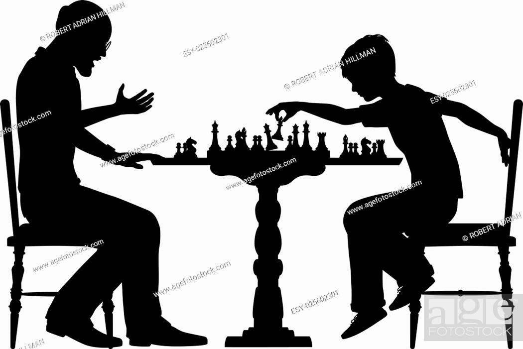 Vector: Editable vector silhouette of a young boy beating a man at chess with all elements as separate objects.
