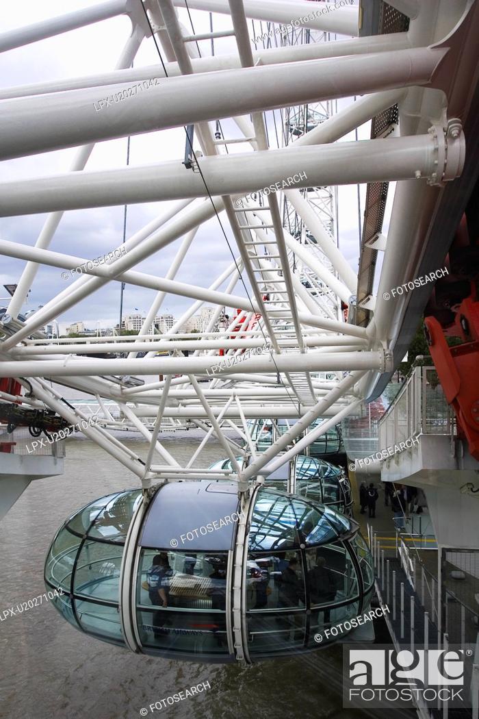 Stock Photo: Bridge, Day, Large Group Of People, London Eye, Millennium Wheel.