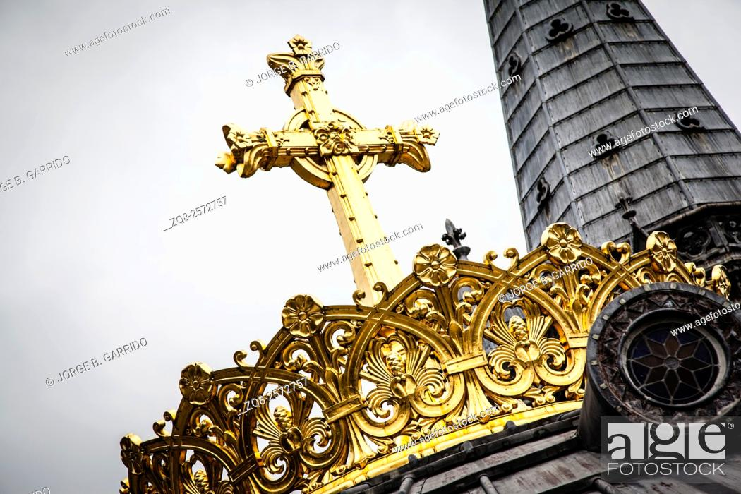 Stock Photo: Crown on the Basicla our Lady of the Rosary in Lourdes, France.