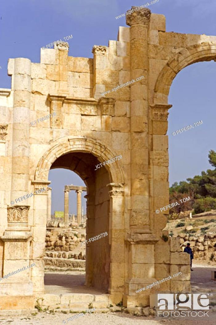 Stock Photo: Jordan, Jerash, arch of Hadrian.