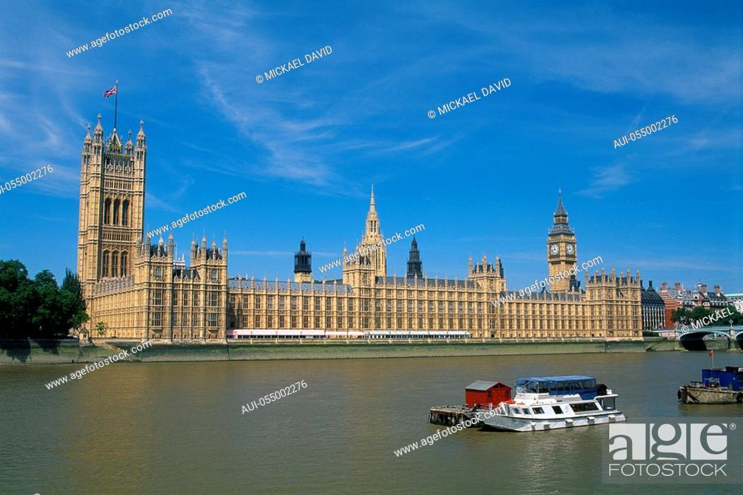 Stock Photo: England - London - Westminster district - Big Ben and Houses of Parliament.
