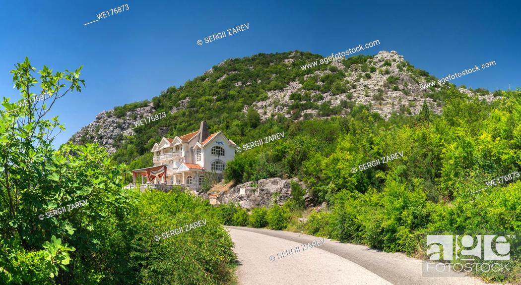 Stock Photo: Skadar lake, Montenegro - 07. 15. 2018. Hotel Gazivoda near Crnojevica river bend in Montenegro, Rijeka Crnojevica in Montenegro.