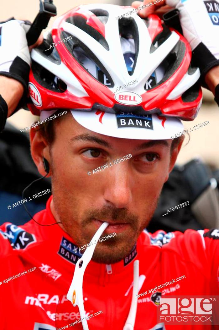 Stock Photo: Fabian Cancellara (SUI) road bicycle racer for Team Saxo Bank, Tour de France, 15 stage Pontarlier-Verbier (July 19th 2009).