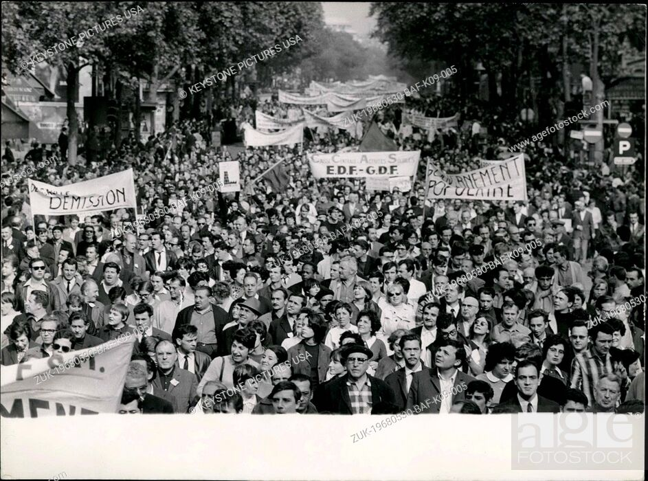 Stock Photo: May 30, 1968 - Over 200.000 Workers Demonstrate In Paris: Some 200.000 Cct Workers and supporters marched from the Bastille to Saint Lazare Station in one of.