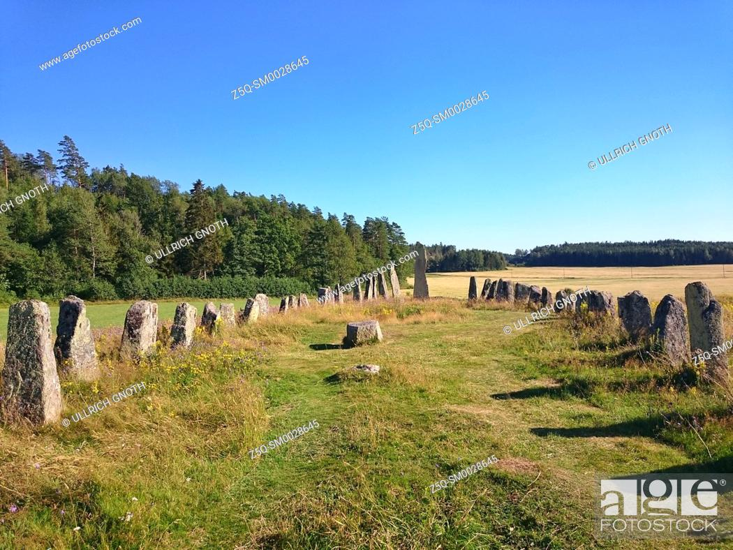 Stock Photo: Ship setting on the grave field of Blomsholm, Bohuslan, Sweden.