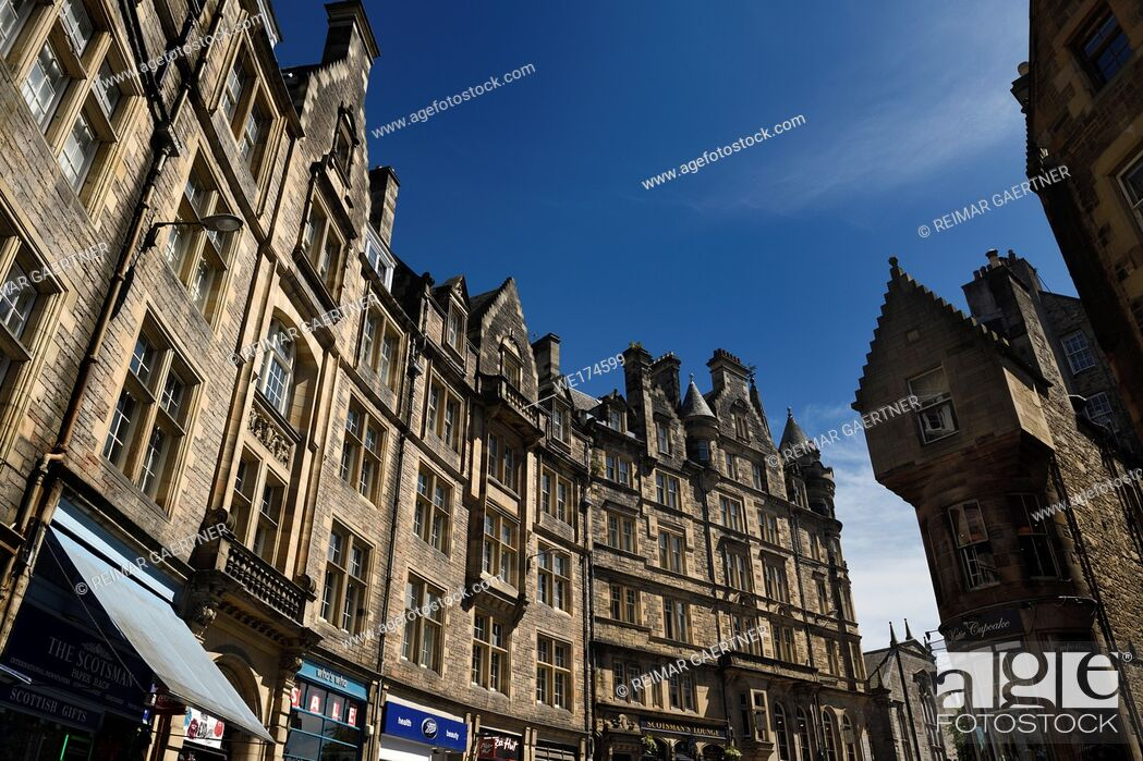 Stock Photo: Cockburn Street historic highrise building architecture in Edinburgh Old Town toward the Royal Mile Scotland United Kingdom.