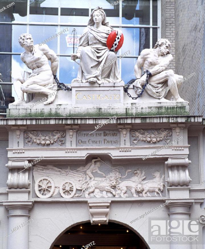Amsterdam, Rasphuis/Relief über der Tür, Stock Photo, Picture And