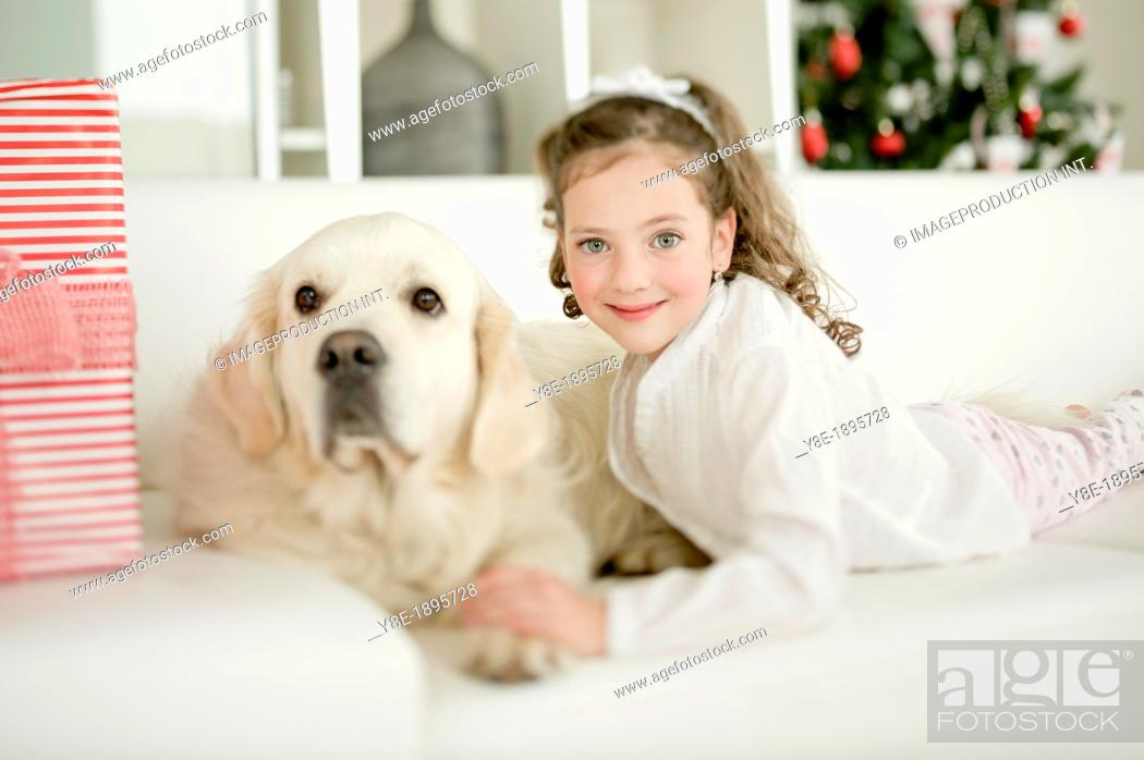 Stock Photo: Little girl and dog.