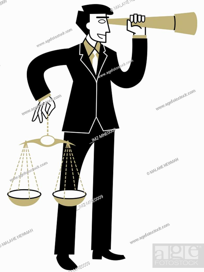 Stock Photo: A businessman looking through a telescope while holding the Scales of Justice.