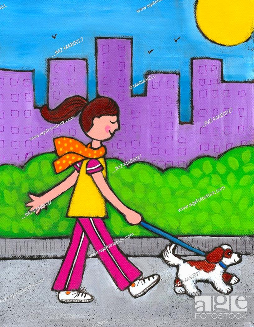 Stock Photo: A woman walking her dog.