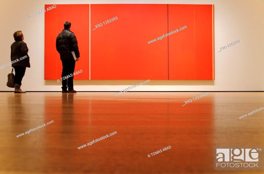 Stock Photo: Vir Heroicus Sublimis by Barnett Newman, 1950-51, MOMA, Museum of Modern Art, New York City.