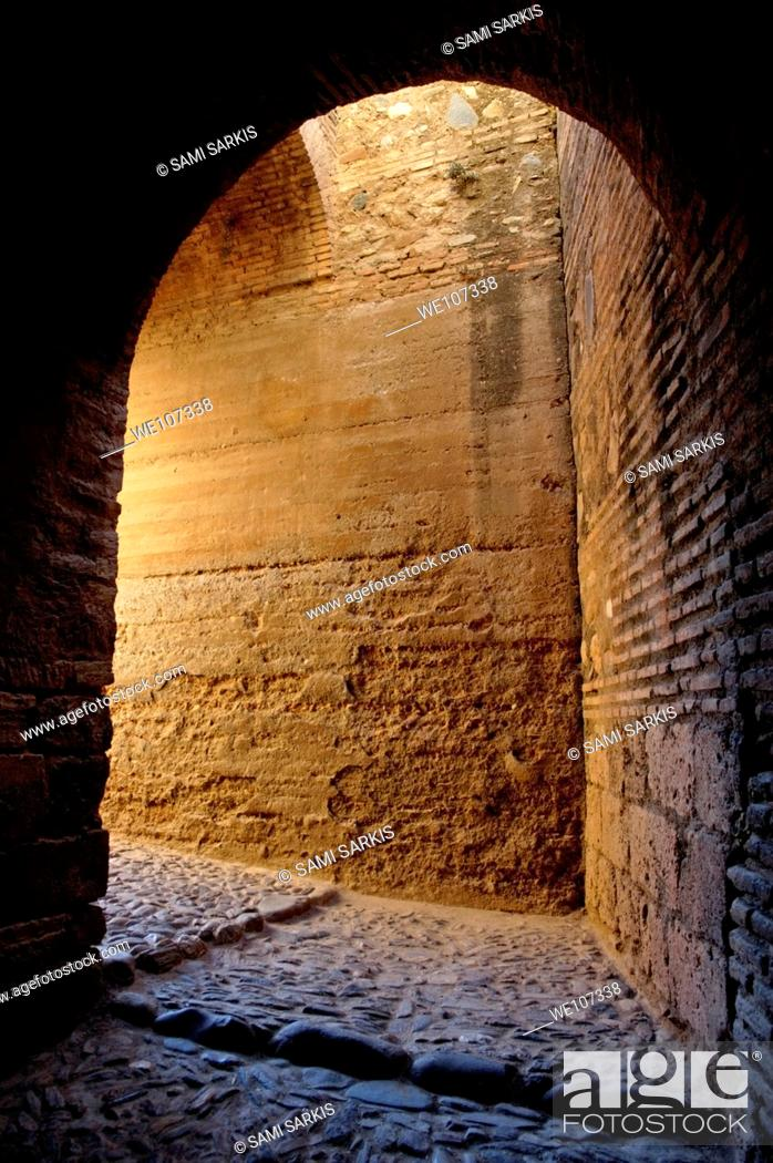 Stock Photo: Entrance to the alcazaba fortification at Alhambra, a 14th-century palace in Granada, Andalusia, Spain.