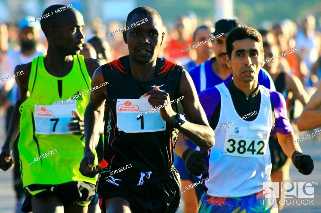 Stock Photo: 19. Marrakesch marathon (Morocco) Sammy Chumba NR 1 Kenya occupied rank 2.