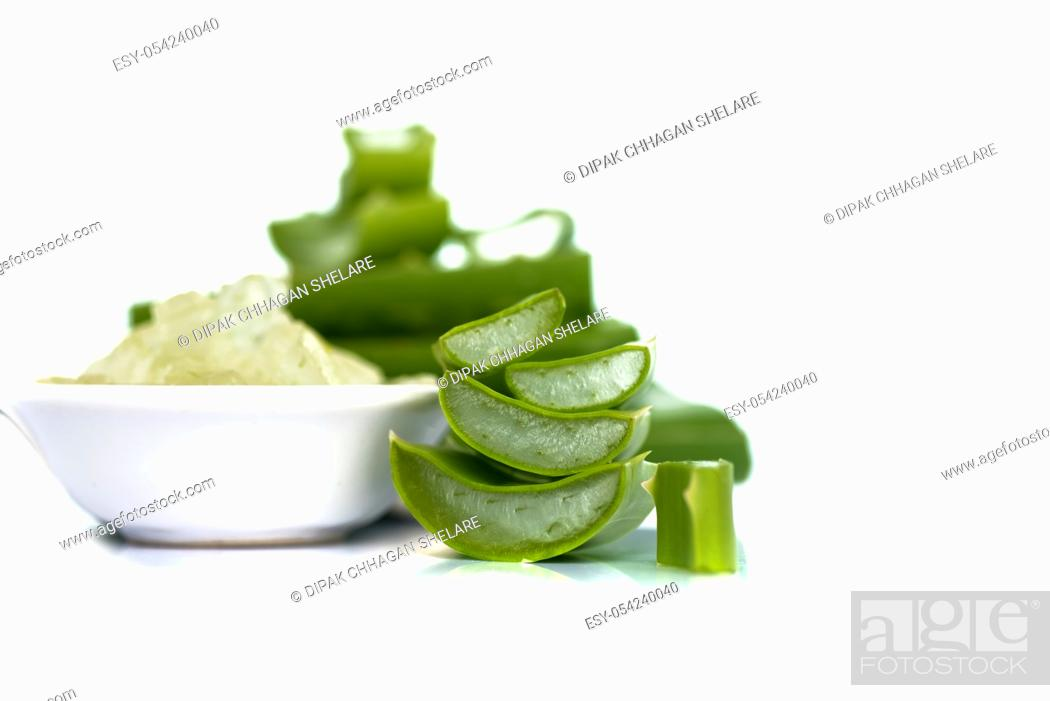 Stock Photo: Slices of Aloe Vera leave and Aloe Vera gel in a bowl on a white background. Aloe Vera is a very useful herbal medicine for skin care and hair care.