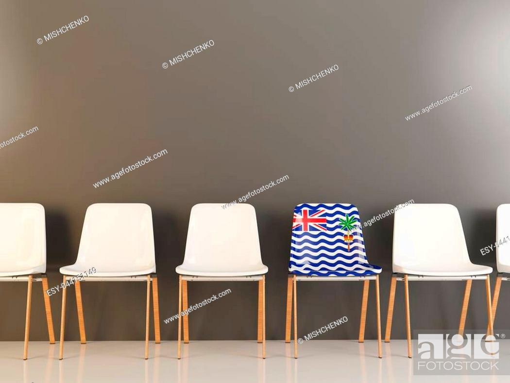 Stock Photo: Chair with flag of british indian ocean territory in a row of white chairs. 3D illustration.