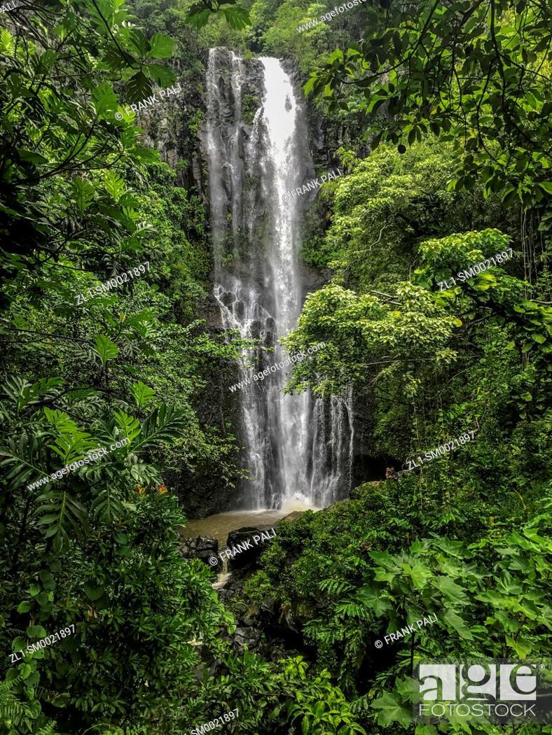 Stock Photo: Wailua Falls, Kipahulu District, Hana Coast, Maui, Hawaii.
