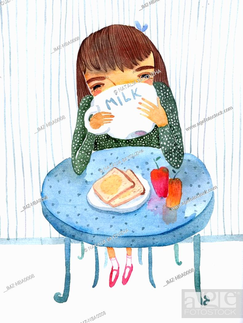 Stock Photo: Girl eating breakfast.