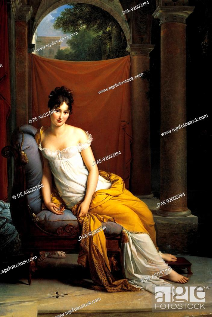 Stock Photo: Portrait of Madame Recamier (Lyon, 1777-Paris, 1849), French society leader in the period of the Directory and the First French Empire.