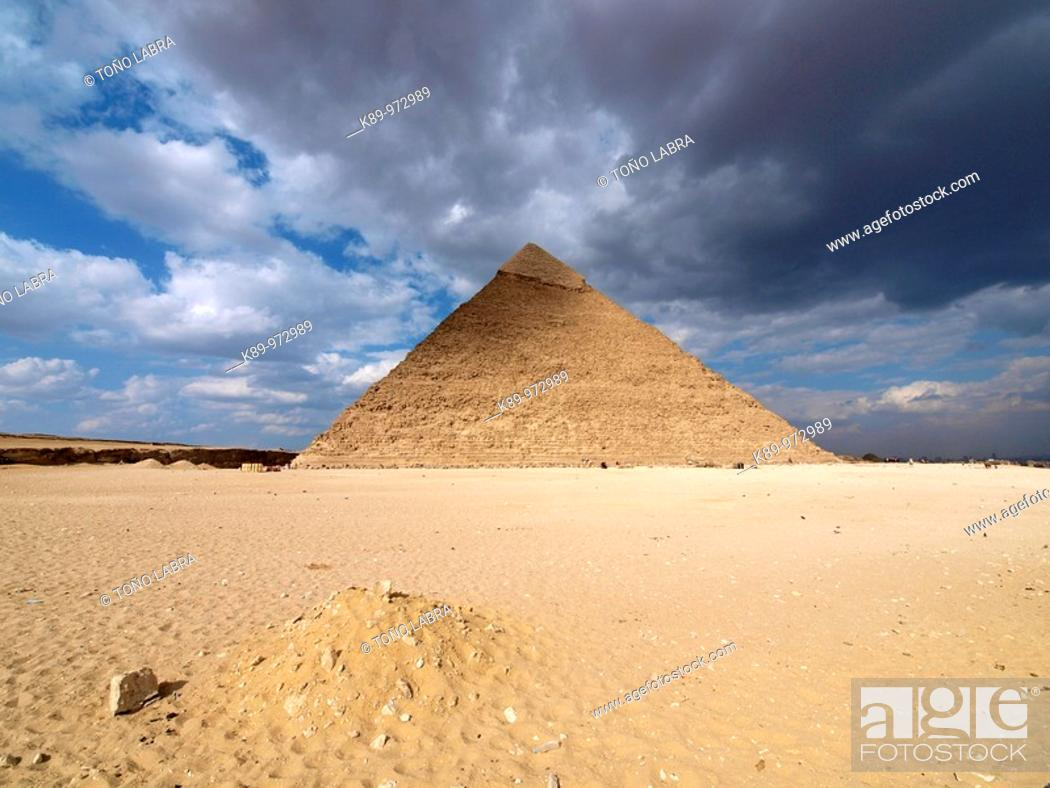 Stock Photo: Pirámides Giza, El Cairo, Egipto.