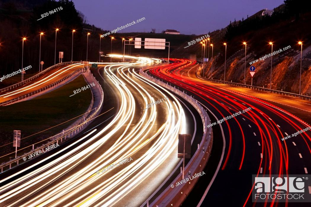 Stock Photo: Traffic, A8 freeway, Orio, Gipuzkoa, Basque Country, Spain.