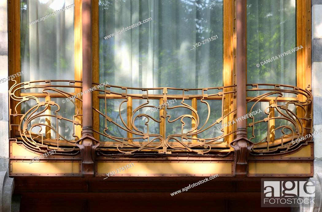 Stock Photo: Architectural detail - Art Nouveau Solvay Hotel by Victor Horta 1898-1900 for Armand Solvay, together with three other town houses of Victor Horta.