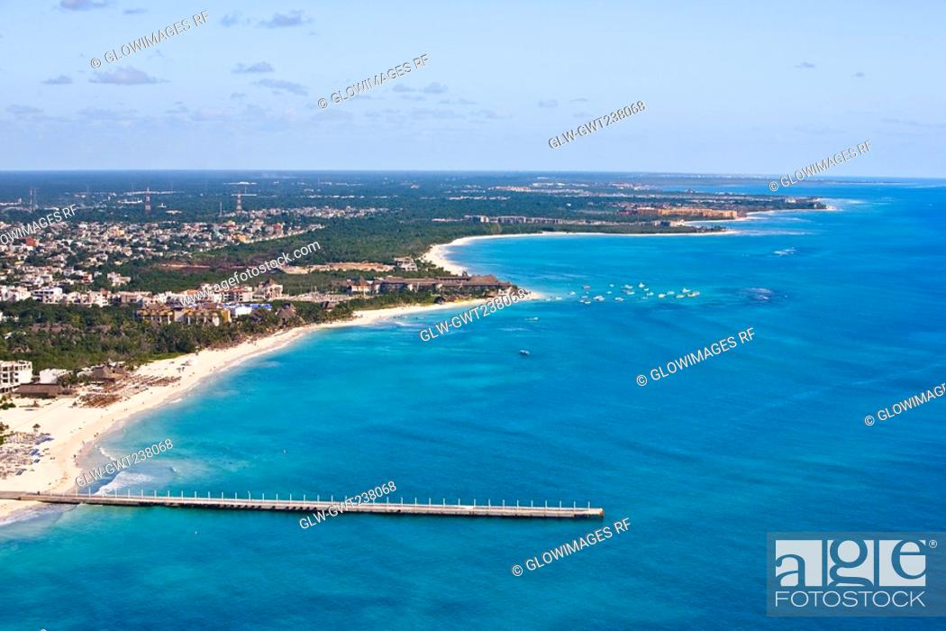 Stock Photo: Aerial view of a pier in the sea, Playa Del Carmen, Quintana Roo, Mexico.