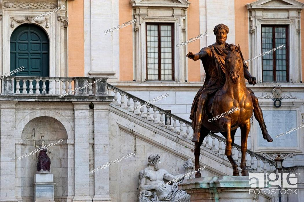 Stock Photo: Italy, Lazio, Rome, historical centre listed as World Heritage by UNESCO, Piazza del Campidoglio Capitoline Square, equestrian statue of Marcus Aurelius.