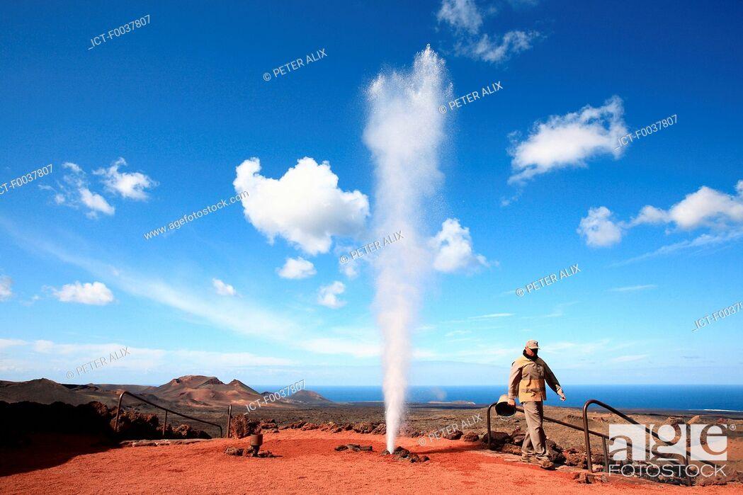 Stock Photo: Spain, Canary islands, Lanzarote, National park of Timanfaya, geyser.