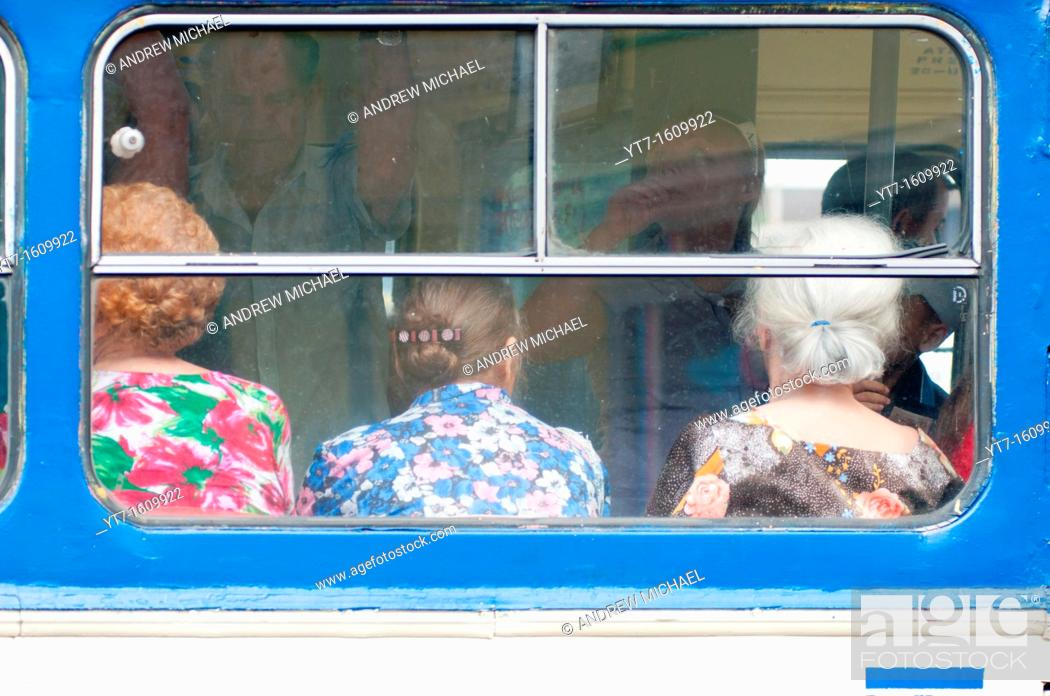 Stock Photo: Three women on a bus in Yalta, Ukraine.