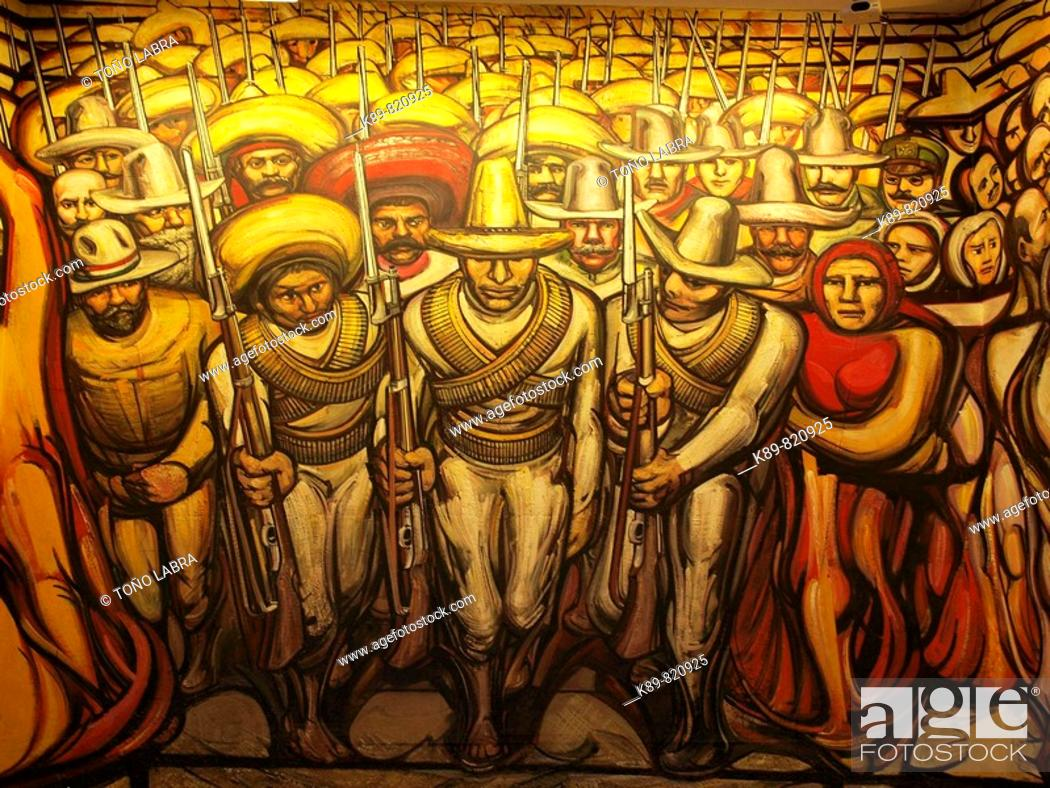 Castillo De Chapultepec Mural Paintings Ciudad De Mexico Stock