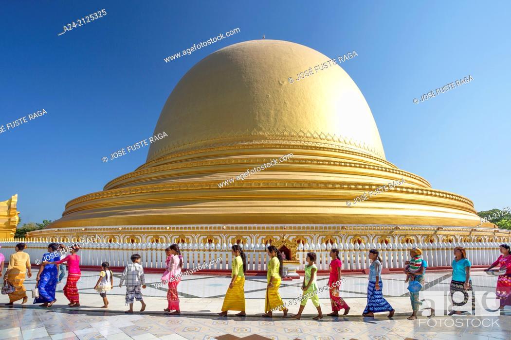 Stock Photo: Myanmar ,near Mandalay ,Sagaing City, Kaung Hmu Taw Pagoda.