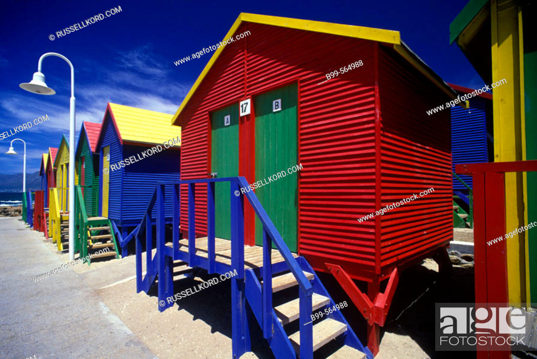 Stock Photo: Bathing Cabins, Saintjames, Capetown Peninsula, South Africa.