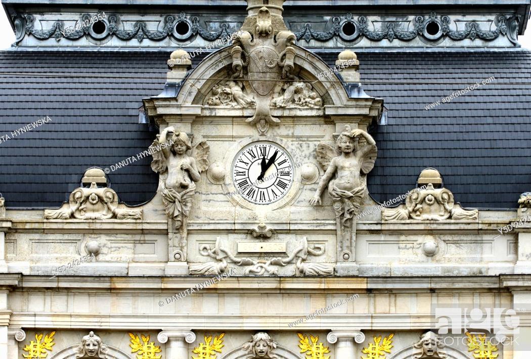 Stock Photo: Lons-le-Saunier, detail of theater buiilding, Opera and the square de la Comédie. capital of Jura department - préfecture (39), region Franche-Comté.
