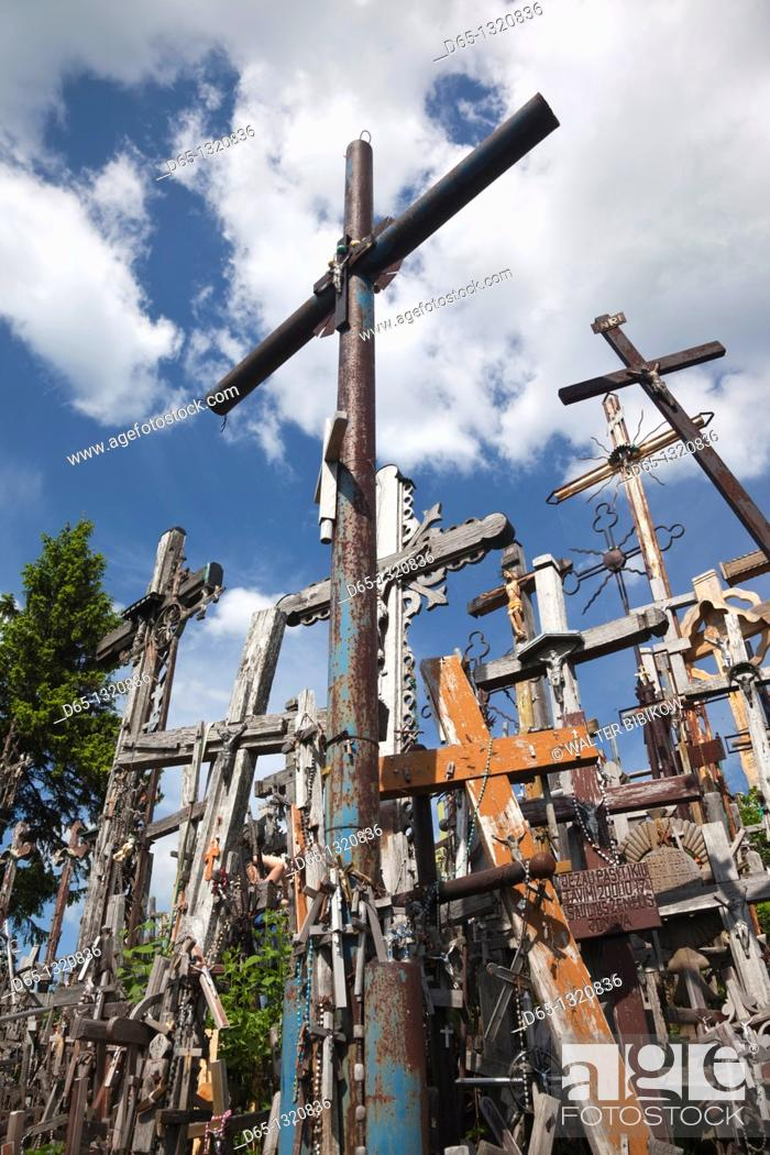 Stock Photo: Lithuania, Central Lithuania, Siauliai, Hill of Crosses, religious pilgrimage site.
