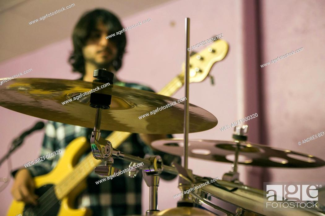 Stock Photo: Guitar player rehearsing for performance.