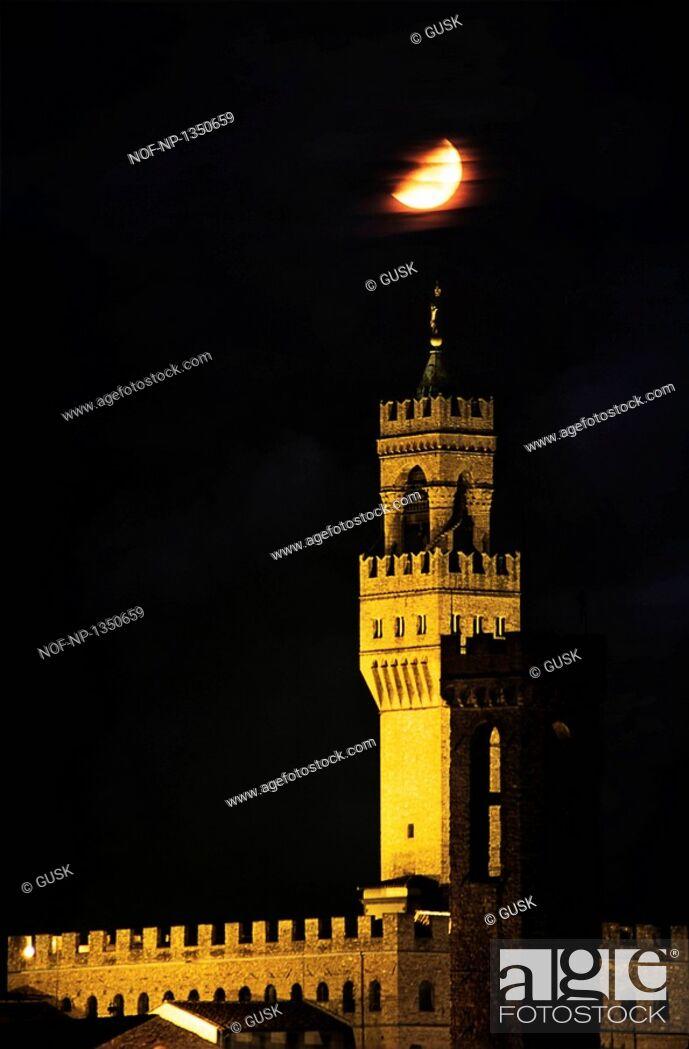 Stock Photo: Palazzo Vecchio in moonlight, Florence, Italy.