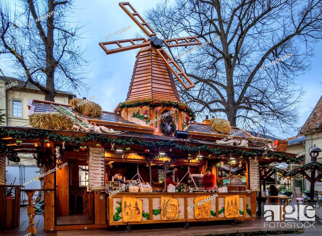Stock Photo: Christmas market on Anatomiegarten Square in the Old Town of Heidelberg, Heidelberg, Baden-Wuerttemberg, Germany, Europe.