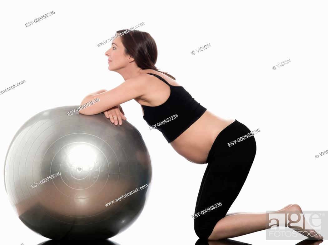 Stock Photo: pregnant caucasian woman ball exercise isolated studio on white background.