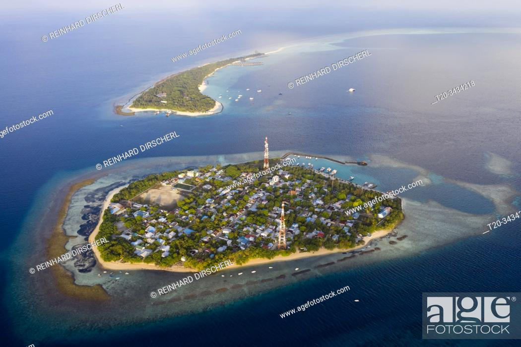 Stock Photo: Inhabited Island Rasdhoo und Vacation Island Kuramathi, Rasdhoo Atoll, Indian Ocean, Maldives.