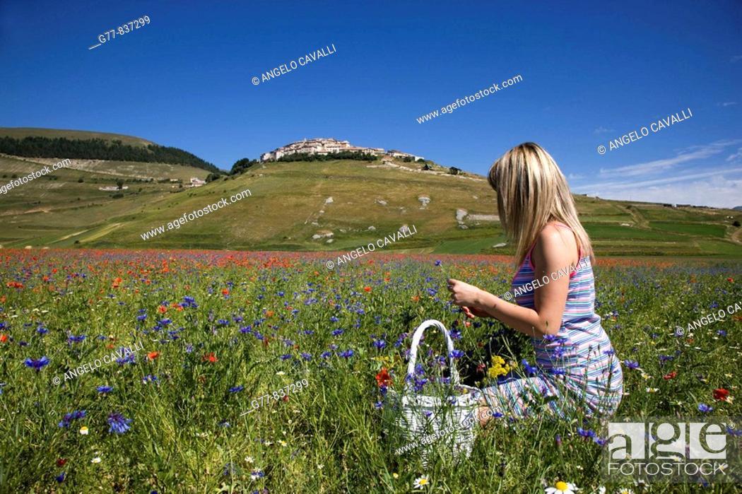 Stock Photo: Italy, Umbria, Norcia, Castelluccio di Norcia, Woman in poppies field.