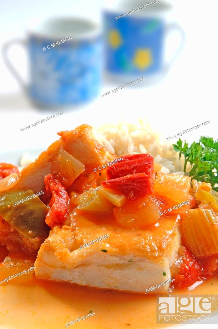 Stock Photo: Grouper with creole sauce.