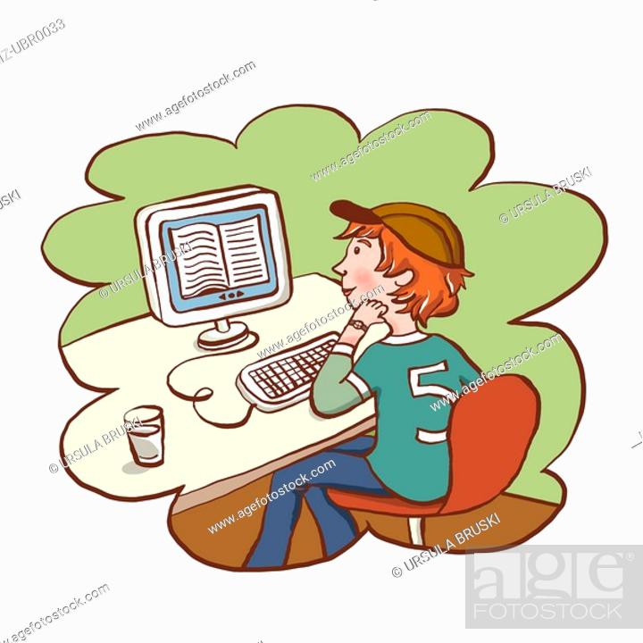 Stock Photo: A young boy reading a digital book.