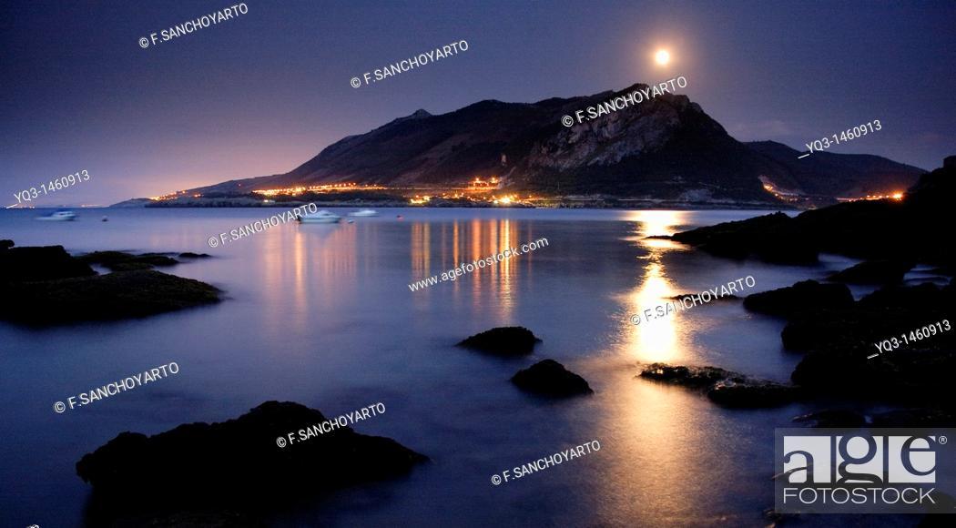 Stock Photo: Montaña Oriental Costera under the moonlight, Castro Urdiales, Cantabria, Spain.