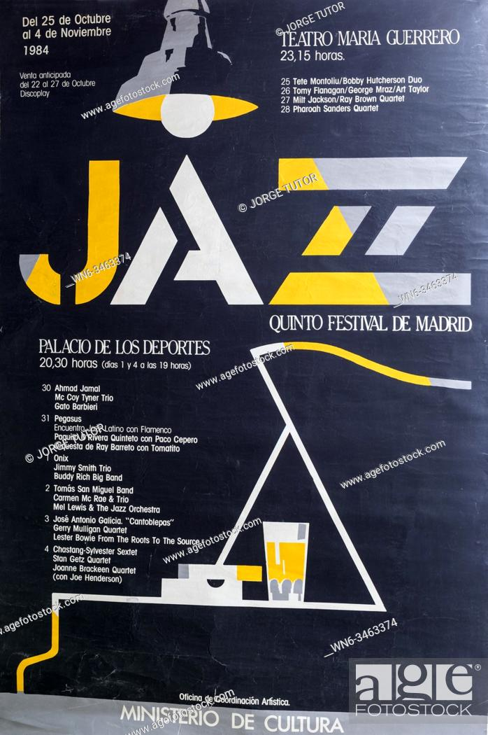 Imagen: 5 International Jazz Festival Madrid 1984, Musical concert poster.
