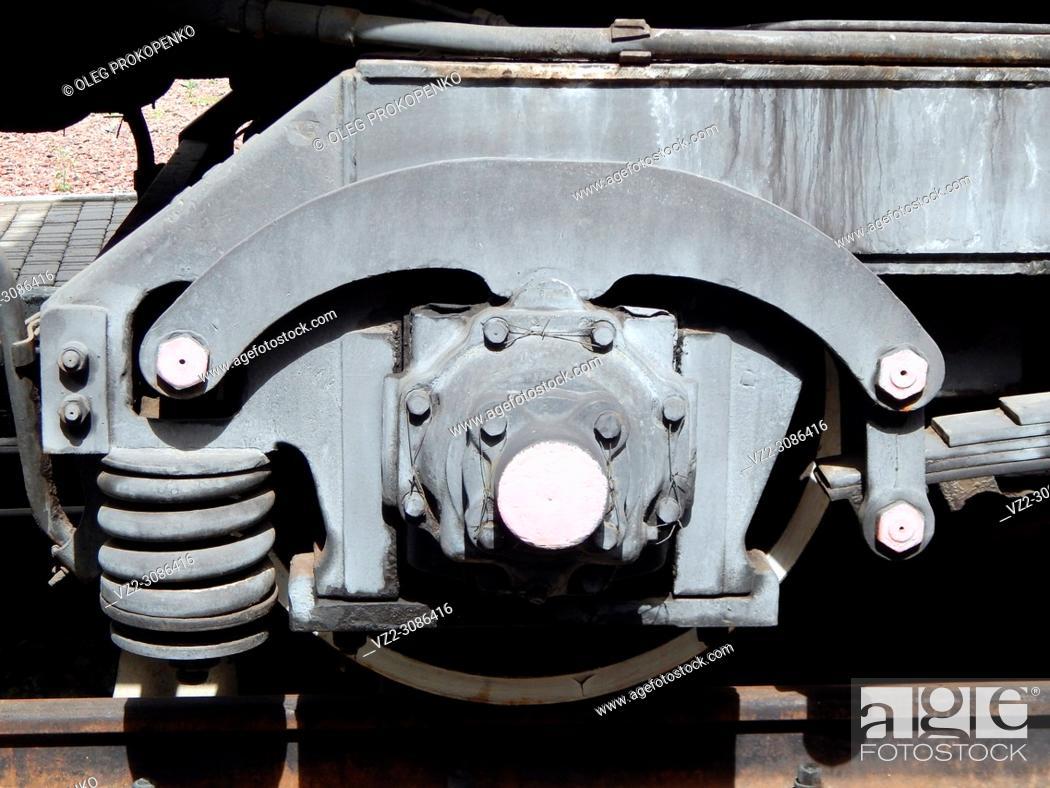Stock Photo: Railway transport details of locomotive, wagon.